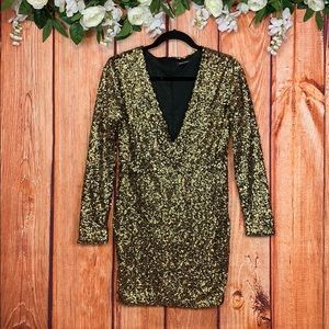 Genuine People All-Over Gold Sequin Dress 1159JO